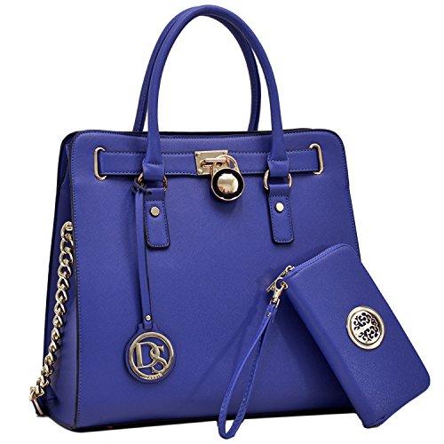 DASEIN Fashion Top Belted Tote Satchel Designer Padlock Handbag Shoulder Bag for Women (2553w-blue) ()