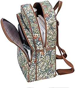 BKPK-MTRI Signare Tapestry Stylish Rucksack Backpack Book Bag with Front Pocket in Multicolored Triangle