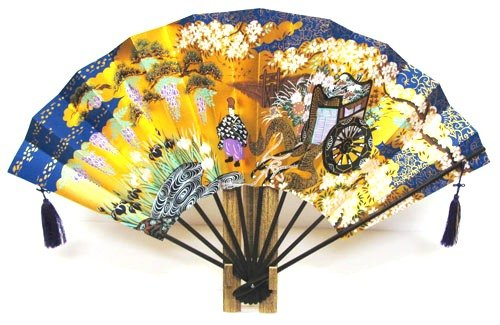 日本のお土産 日本の伝統 飾り扇子 金地飾り扇子 金箔地黒骨 扇子 御所車(大) B007HMGJX6
