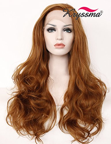 K'ryssma synthetic lace front wigs F0501,Glueless Long Wavy Side Parting Brown Color Half Hand Tied Heat Resistant Synthetic Hair Replacement Wig For Women Halloween 24 Inches]()