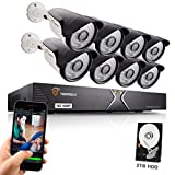 TIGERSECU Full HD 1080P 16-Channel Video Security Camera DVR System, 2TB Hard Drive - Eight 2.0mp Outdoor Bullet Cameras, 65ft Night Vision