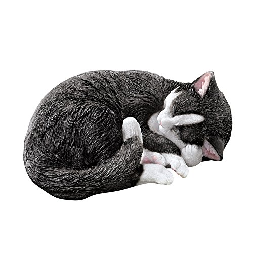 Collections Etc Sleeping Seymour Tuxedo Cat Statue Cute Outdoor Garden or Indoor (Resin Garden Sculptures)