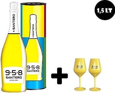 958 VINO ESPUMOSO EXTRA SECO BOTELLA POP ART DE 75 CL EN ESTUCHE CON DOS COPAS AMARILLAS: Amazon.es: Alimentación y bebidas