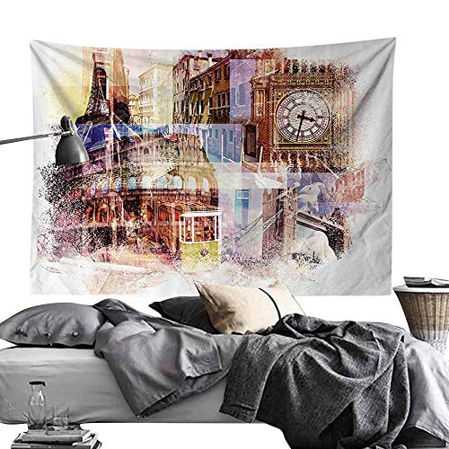 Commemorative Tapestry Home Decor Collection Europe Popular Landmarks Theme Big Ben London Eiffel Tower Paris Coliseum Rome Canal Venice Tapestry for Room W93 x L70 Cream ()