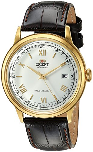 Orient Men's 2nd Gen. Bambino Ver. 2 Stainless Steel Japanese-Automatic Watch with Leather Strap, Brown, 21 (Model: FAC00007W0)