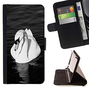 Momo Phone Case / Flip Funda de Cuero Case Cover - Cisne Blanco Pájaro hermoso Pond Ornitología - Samsung ALPHA G850