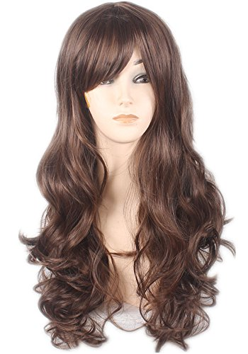 AneShe Brown Wig Women's Big Wave Synthetic Hair Long Wavy Curly Hair Wigs (Brown)
