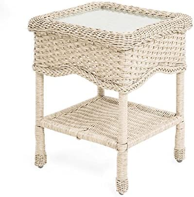 Prospect Hill Wicker End Table with Glass Tabletop, Cloud White