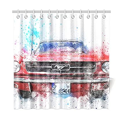 JIUCHUAN Car Old Mustang Art Abstract Watercolor Polyester Fabric Shower Curtain Bathroom Sets Home Decor