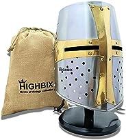 HIGHBIX Premium Medieval Warrior Templar Crusader Helmet   Wearable for Adult   Medieval Costumes   Wooden Sta