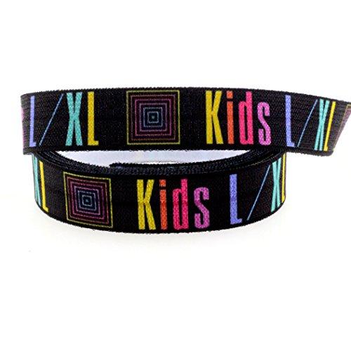 "Midi Ribbon LulaRoe Kids L/XL Single Face Printed Stretch Black Foldover Elastic 5/8"" X 50 Yards/Roll for Ponytail Holder Headband Hair Tie Scrapbooking"