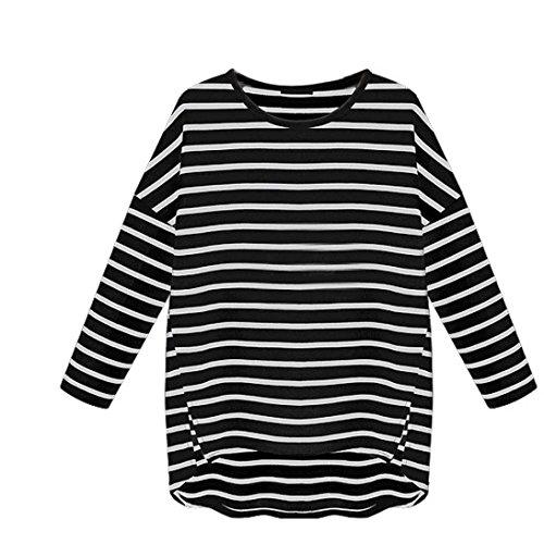 LMMVP Shirt Femme, Rayures Casual Col Rond à Manches Longues Top Chemise Blouse Noir