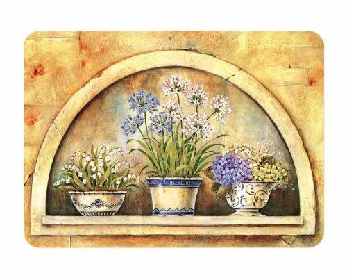 Premium Medium Glass Chopping Board - Window Flower Design Kitchen Worktop Saver Protector The Emporium Home