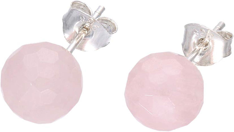 Cuarzo rosa pendientes bola facettiert sobre plata 925