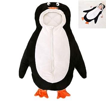 WDGT Saco De Dormir para Bebés Otoño E Invierno Espesar Algodón Pingüino Cubierta para Pies Cochecito