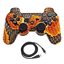 Bowink Wireless Bluetooth Controller For PS3 Double Shock - Bundled with USB charge cord (Snakeskin)