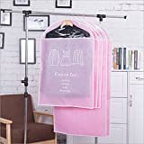Witty Gadget, LLC 5 Pack of Breathable Garment Bag Clothes Covers - 2 Large (120cm 60cm) and 3 Medium (90cms 60cms) (Pink)