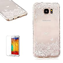 Samsung Galaxy S6 Edge Case [with Free Screen Protector],Funyye Premium Transparent Liquid Crystal Clear Flexible Rubber Soft TPU Gel Silicone Ultra Thin Slim Back Skin Bumper Case Cover for Samsung Galaxy S6 Edge - Butterfly Petals