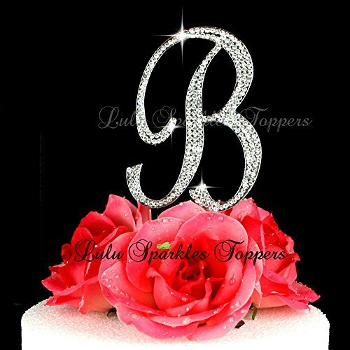 Crystal Rhinestone Cake Topper Letter B Script Font Large Si