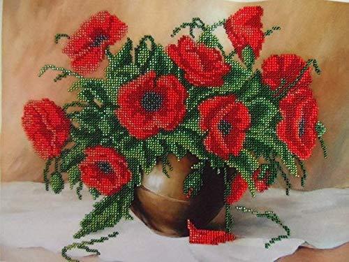 HomeHobbyArt Stickbild mit Perlen Komplette Stickpackung Blumen 24x32 cm Stickset Stickerei Set Handarbeit Stickvorlage vorgedruckt vorgezeichnet Bild Zum Selber Sticken Handarbeit