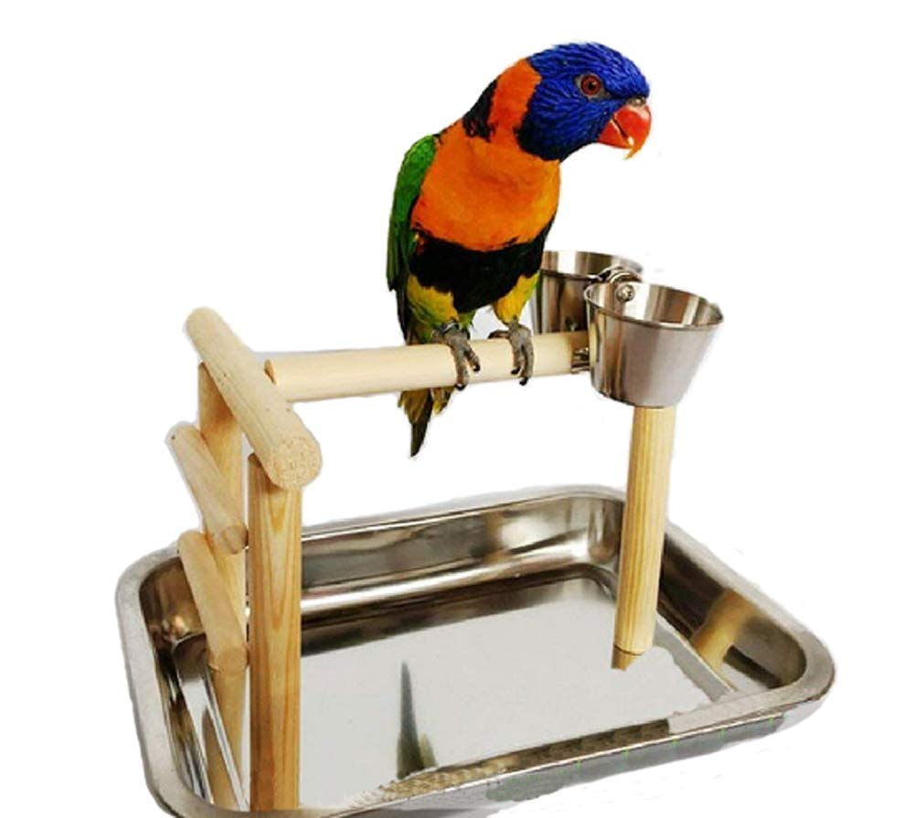 zoele Wooden Parrot Stand Bird Standing Fun Play Cage Foot Toy for Claws Grinding
