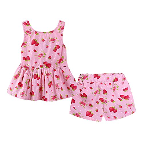 LittleSpring Little Girls Summer Outfit Strawberry Halter Dress and Shorts Set Size 5T -