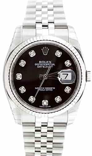 Rolex Datejust 36mm Black Diamond Dial White Gold Stainless Steel Men's Watch 116234