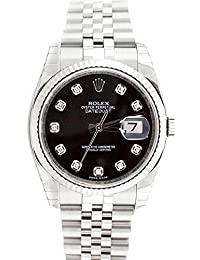 Datejust 36mm Black Diamond Dial White Gold Stainless Steel Men's Watch 116234