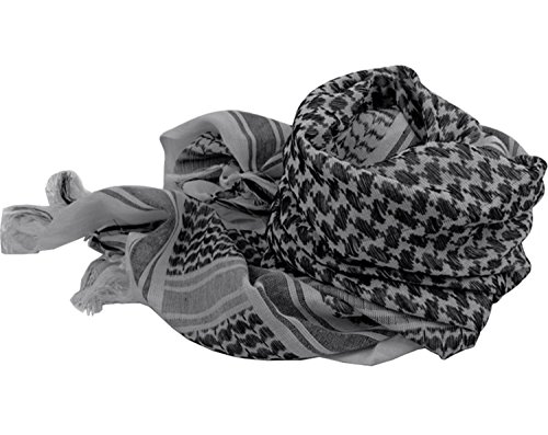 100% Cotton Keffiyeh Tactical Desert Scarf Wrap Shemagh Head Neck Arab Scarf Gray by MAGNIVIT (Image #4)
