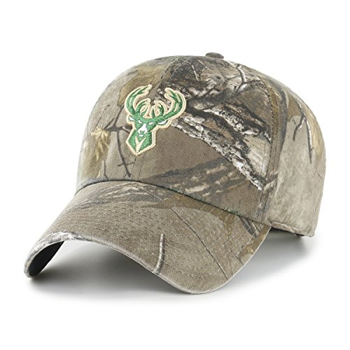 OTS NBA Milwaukee Bucks Realtree Challenger Clean Up Adjustable Hat, Realtree Camo, One (Realtree Camo Adjustable Hat)