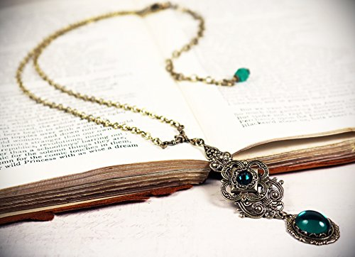 - Antiqued Medieval Style Filigree Pendant Necklace with Glass Cabochons - Avalon