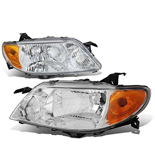 (For Mazda Protege 8th Gen BJ Pair of Chrome Housing Amber Corner Headlight Lamp)