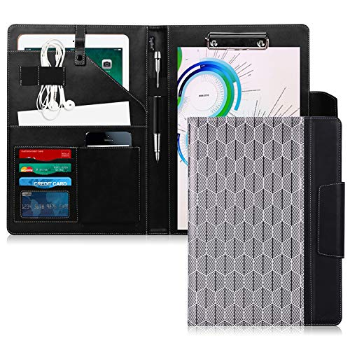 Conference Padfolio - Toplive Portfolio Case Padfolio, Executive Business Document Organizer with Letter Size Clipboard, Business Card Holder, Tablet Sleeve, Perfect for Business School Office Conference, Tree-Black