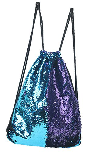 Cheap Smilecoco Mermaid Sequin Backpack Glittering Outdoor Shoulder Bag,Magic Reversible Glitter Drawstring Backpack , Fashion Bling Shining Dance Bag, Sports Backpack Bag (Blue&Purple)