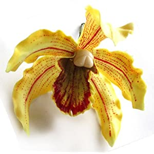 "(12) Yellow Hawaiian Cymbidium Cattleya Silk Flower Heads - 4.5"" - Artificial Flowers Heads Fabric Floral Supplies Wholesale Lot for Wedding Flowers Accessories Make Bridal Hair Clips Headbands Dress 93"