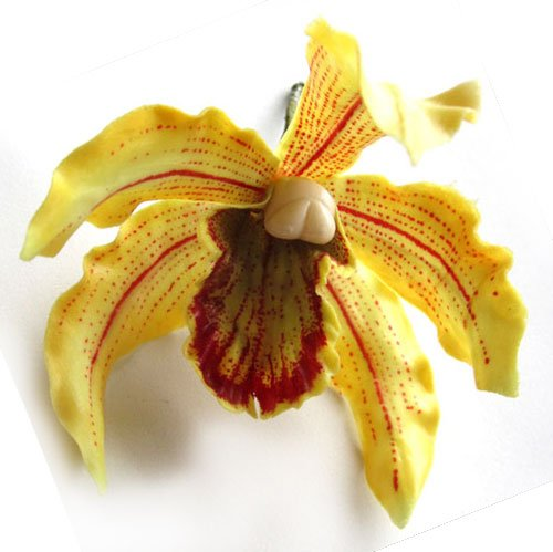(12) Yellow Hawaiian Cymbidium Cattleya Silk Flower Heads - 4.5