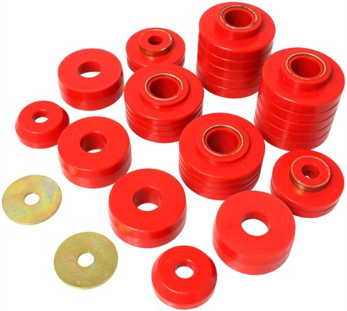 Energy Suspension 4-4107R Red Body Mount Bushing Set (Energy Suspension F350 Bushings)
