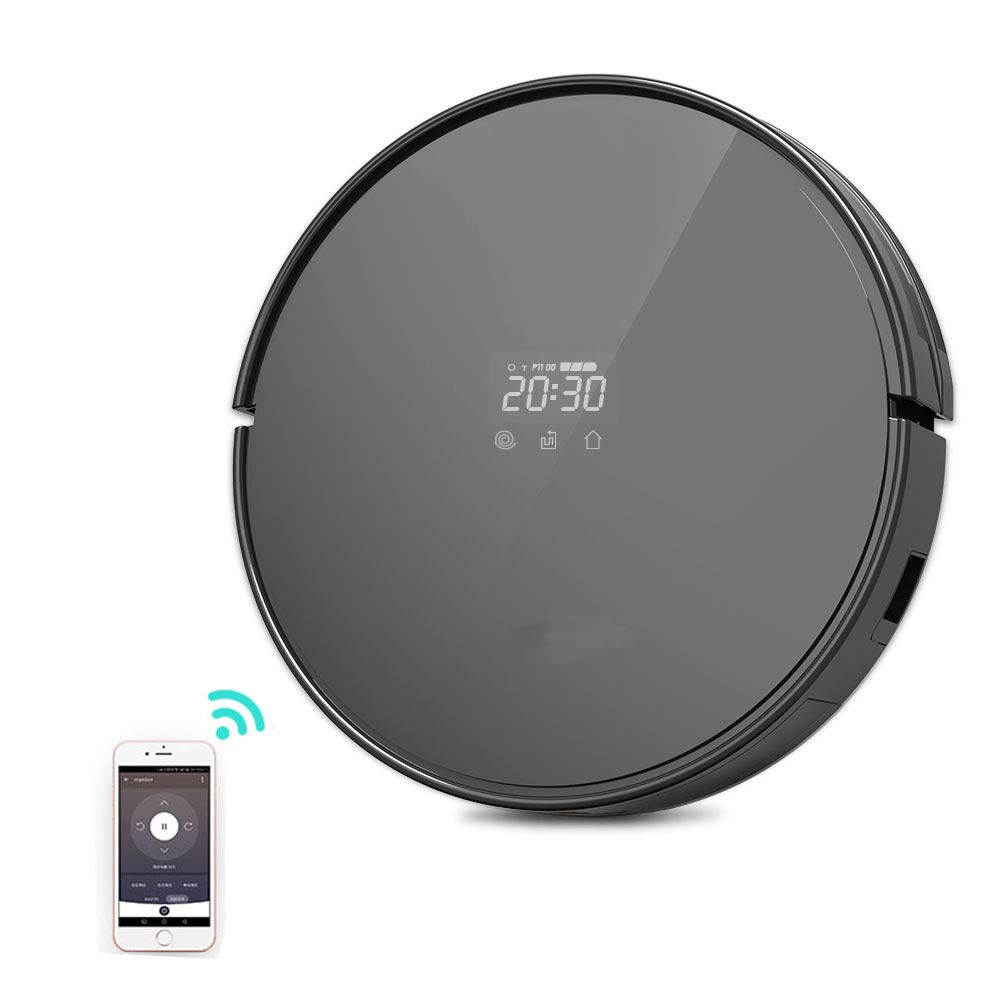 Robot Vacuum Cleaner -WiFi Connectivity Compatible with Alexa ,360° Anti-Collision & Drop Sensor Protection Auto Charging,Remote/APP Control Good for Pet Hair, Carpets, Hard Floors