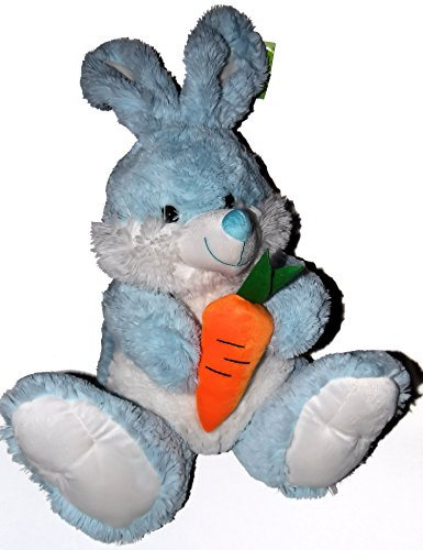 Fluffy Blue Bunny Rabbit with a Carrot Plush Stuffed Toy 14 Inches (Blue Bunny Plush Rabbit)