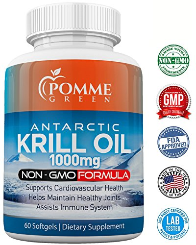 Krill Oil by Pomme Green Nutrition, 1000 mg, Anti-Inflammatory, Toxin Free, Easily Absorbed, FDA, EPA, DHA, GMP Certified, Made in the USA, 60 Capsules Review