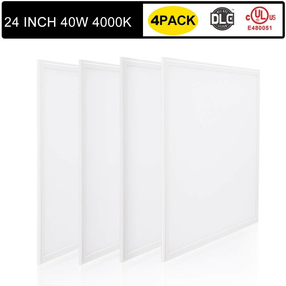 [4 Pack] LED Troffer Panel Light, T-SUN 2x2Ft 40W/4000K 4500LM UL/DLC Dimmable Edge-Lit Flat Panel for Home, Office, Showroom, Hotel, Supermarket (Natural White) by T-SUN