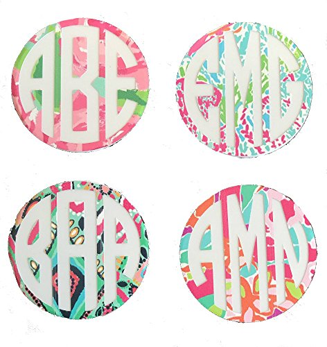 Monogram Decals   1 5  Lilly Inspired Vinyl Circle Monogrammed Decals For Your Pop Socket  Set Of 2   Decals Only