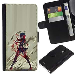 YiPhone /// Tirón de la caja Cartera de cuero con ranuras para tarjetas - Anime héroe - Samsung Galaxy S4 Mini i9190