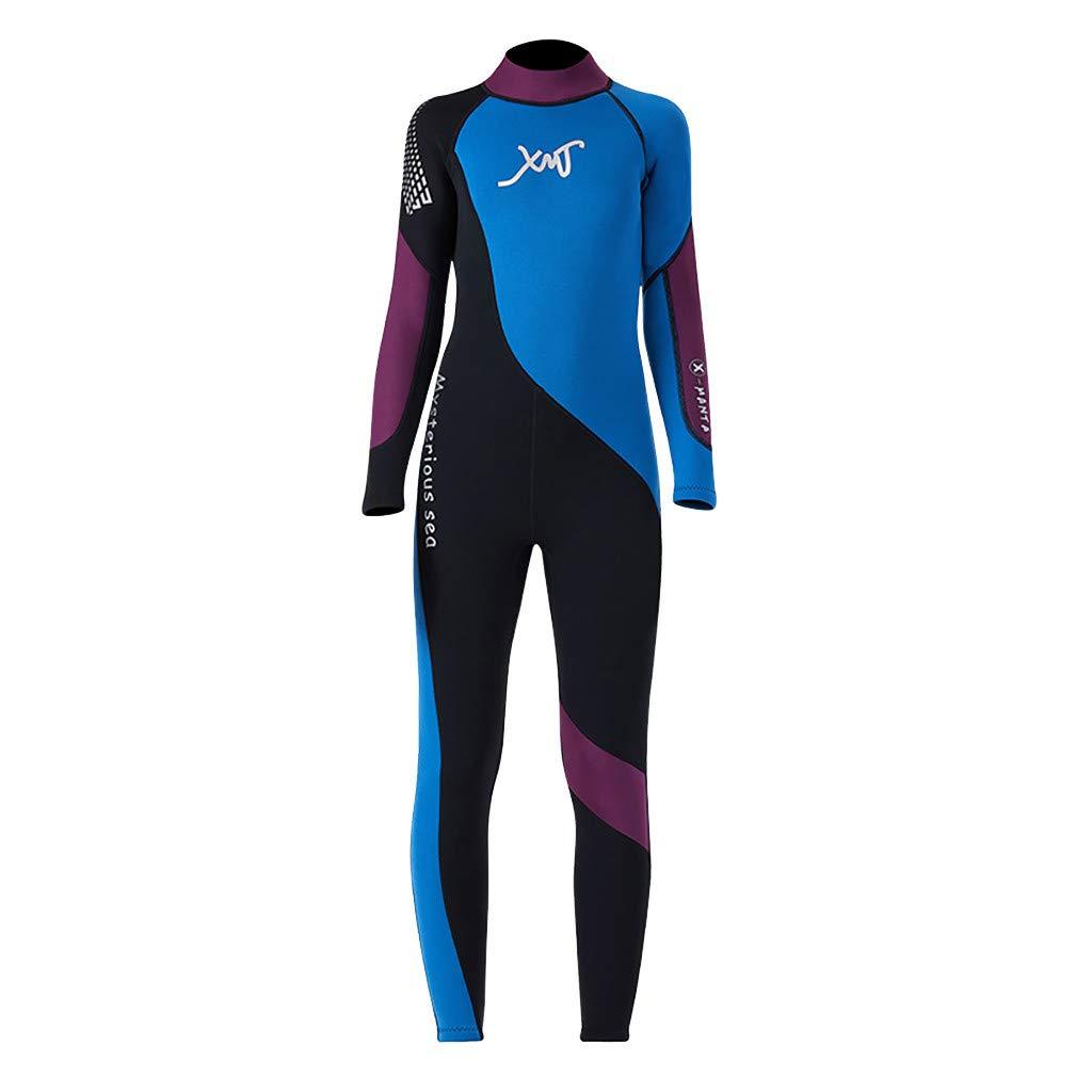 SPORTTIN Kids Girls Boys Scuba Long Sleeve Swimming Sail Water Sun Protection One Piece Swimsuit Diving Suit (Medium, Blue)