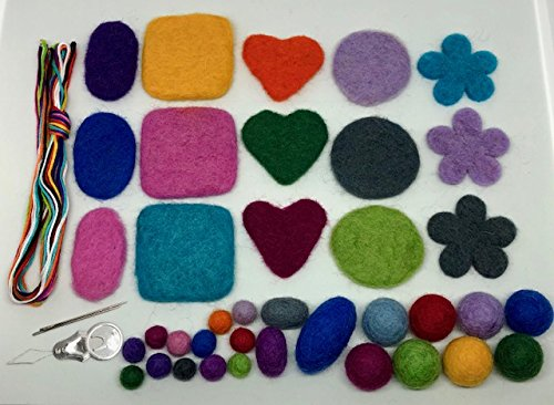 100% Wool Felt Balls & Shapes- 40 Pieces Mixed Color | Azo Free Nepal & New Zealand Beads | Needle Felting Wool | DIY Ball - Wool Felt Thread