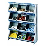 Stack-On CB-12 Clear View 12-Bin Organizer (Gray)