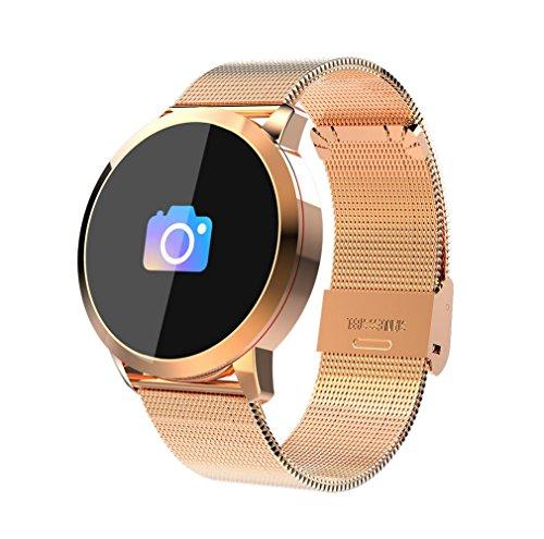 Smart Brsmart Bracelet Heart Rate Blood Lipid Detector Sports Running Pedometer Fitness Tracker Smart Reminder Bluetooth Smart Steel Belt Watch,Gold by LJXAN