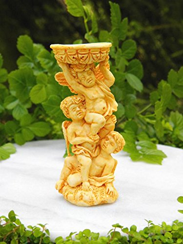 Birdbath Cherub (My Fairy Gardens Miniature Accessories - Tan Cherub Angels Bird Bath - Mini Dollhouse Supply Expressions)