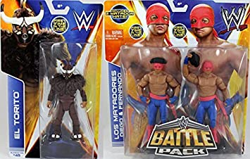 PACKAGE DEAL** EL TORITO (SERIES 42) & LOS MATADORES (BATTLE PACKS 29) - WWE MATTEL TOY WRESTLING ACTION FIGURES by Wrestling: Amazon.es: Juguetes y juegos