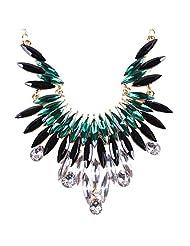 Qiyun Angel's Wing Green Fringe Dangle Crystal Beaded Charm Choker Necklace Aile Charme De Cristal De Franges Vertes Collier